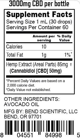 Banzai Wellness Network - Bend Scientific CBD - Ascend - Nutrition Facts